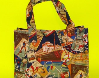Blue Star Lines Vintage Cruise Printed Resort Retro Get-a-Way Holiday Vacation Fun in the Sun Classic Handbag Purse