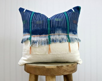 Indigo and White Mud Cloth Pillow Cover // Various Sizes Fringe Baoule Cloth Mudcloth Ivory African Textile Ethically Sourced Global Decor
