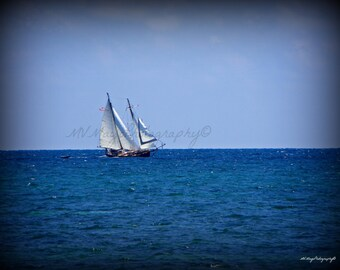 Sailboat Photograph  Sailboat Print  Sailboat Picture  Ocean Photo  Free US Shipping  MVMayoPhotography