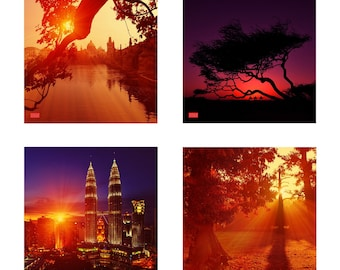"""Four prints from """"Amazing landscapes"""" series, photos 1,3,7,12 in the set"""