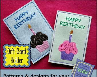 ITH Cupcake Gift Card Holder - Birthday Gift Card Holder - 4 X 4 Hoop - Machine Embroidery Design