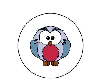 Cute Owl Cross Stitch Pattern, Easy Kid's Cross Stitch, Crossstitch Pattern, Instant Download PDF