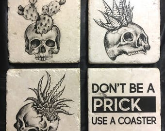 Skull Coasters or Tiles - Skull Decor - Succulents - Boho -  Set of 4. Tumbled Marble 4in. x 4in.