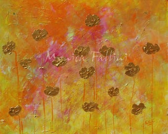 Modern painting Poppies art beautiful colors and texture by artist Fallini