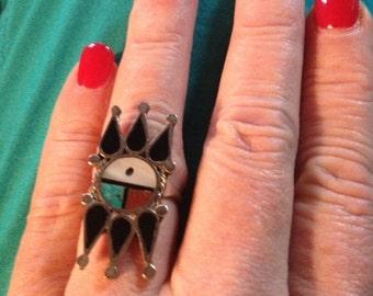 Sale - Vintage Native American Vintage Zuni Inlay Ring - Size 7