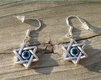 Silver Evil Eye Earrings, Charm Earrings, Jewelry Findings, Sterling Silver Hooks