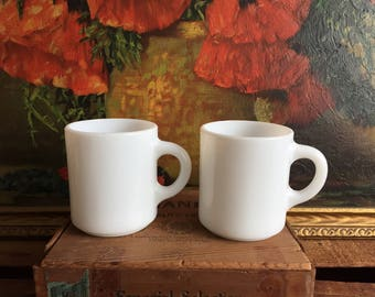 White Mug Set of 2 Milk Glass Coffee Cup Vintage Milkglass