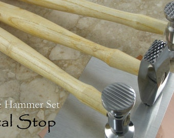 THREE Texture Hammers with Free Practice metal Jewelry Making Texture Hammer set Stars, Stripes, Dimples and Crosshatch texturing tools