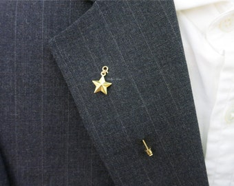 Gold Star Suit Pin - Grooms Boutonniere - Lapel Stick Pin - Pocket Pin