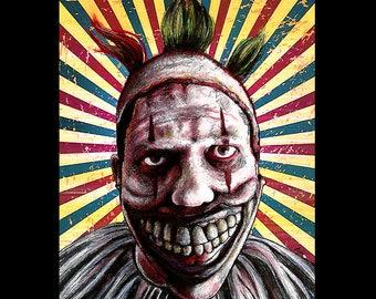 "Print 11x14"" - Twisty the Clown - American Horror Story John Carrol Lynch Dark Art Halloween Freak Show Circus Sideshow Serial Killer Clowns"