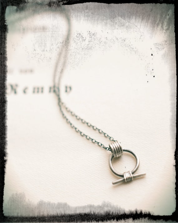 Shen Ring Necklace Miniature Amulet In Oxidised Sterling