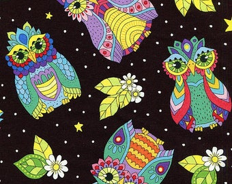 Night Bright Owls - Wilmington Prints - 1 yard - More Available - BTY