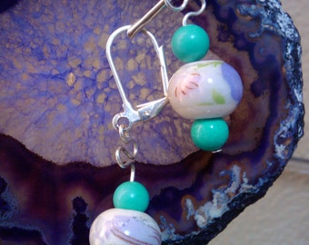 Asian Floral Fused Ceramic with Turquoise Earrings