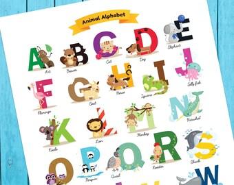 Nursery Print - Printable Animal Alphabet Poster, Baby Shower Gift, Animal Poster, ABCs, Kids Room Print, Nursery Print, Instant Download