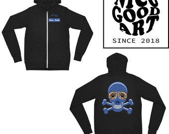 Hoodie Black Off My Facebook Skull / Psychedelic Clothing / Aesthetic Clothing / Hoodies / Black/ Blue / Skull / Hoodie / Rave