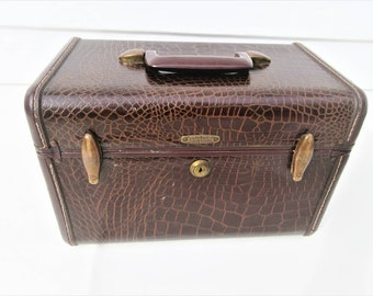 Vintage Samsonite Case | Train Case | Traincase Makeup | Faux Alligator Suitcase | Hard Sided Luggage | Brown Faux Leather | 1950s Luggage