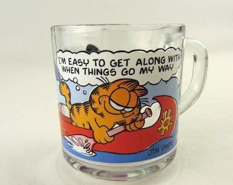 Garfield Odie Clear Glass Cup 1978 Vintage McDonalds Collectible Jim Davis 9 oz