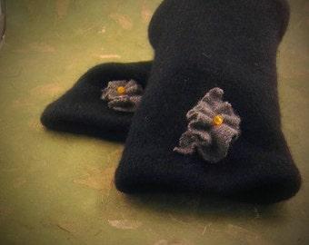 Luxurious Cashmere Fingerless Navy Glovelettes