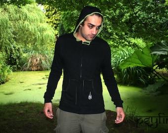 Mens Hoodie - Mens Jacket, Festival Hoodie, Organic Hoodie, Hippie Jacket, Psytrance Top, Festival Clothing, EDM Rave Wear, Psy