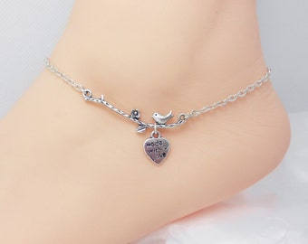 Double bird anklet with pearlbridesmaid gifts boyfriend little heart on silver branch ankletbridesmaid gifts boyfriend girlfriend delicate jewelry sorority gift best negle Image collections