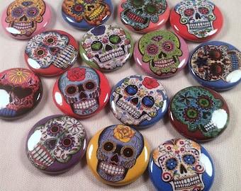 "15  1"" Day Of The Dead Buttons, Sugar Skull Pins, Sugar Skull Magnets, Black Velvet Sack, Day of the Dead Party Favors, Skull Gift, (22)"