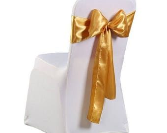 """7""""X108"""" Gold Satin Sashes Chair Cover Bow Sash WIDER FULLER BOWS Wedding Party"""