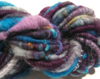 Super Bulky Handspun yarn Wild Rumpus 25 yards corespun art yarn blue purple yellow knitting supplies crochet supplies Waldorf doll hair