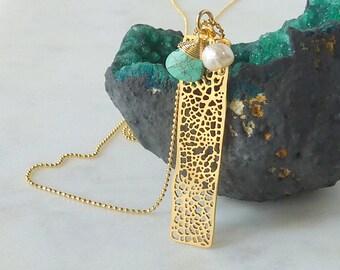 Treasure Trove. Long Gold Vertical Bar Necklace. modern necklace. long gold necklace. layering necklace. unique necklace. nautical jewelry.