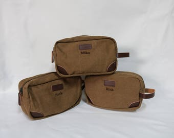 Groomsmen Toiletry Bag-Monogram included-Groomsmen Bags-Personalized Groomsmen Gifts- Canvas and Leather Dopp Kit-Olive or Tan