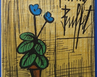 Bernard Buffet : Small blue primrose, Original lithograph - Signed