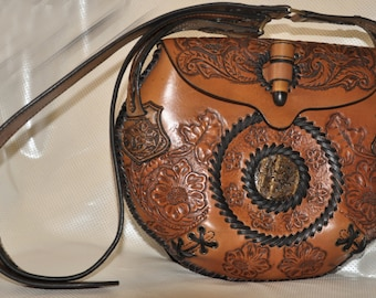 Big circle bag, leather, floral, crafted, best present