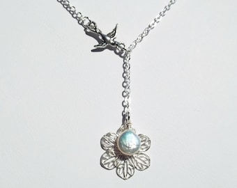 Bird Necklace Pearl Lariat Necklace Bridesmaid Jewelry Friendship Gift Women's Gift