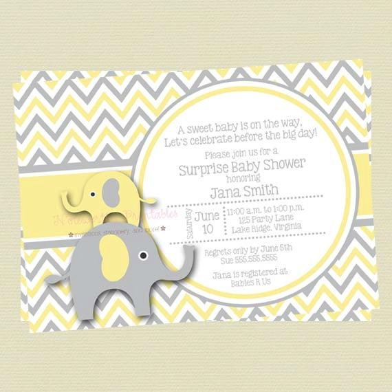Yellow And Gray Elephant Baby Shower Invitationyellow And
