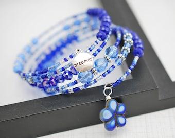 Dreamer Bracelet, Dreamer, Boho Bracelet, Inspirational Bracelet, Blue Bracelet, Wrap Bracelet, Memory Wire Bracelet, Seed Bead Bracelet