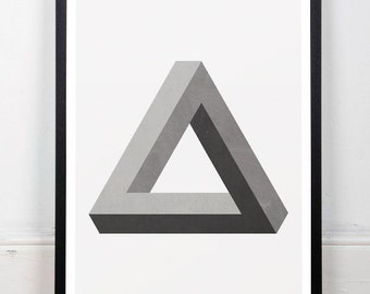 Infinite triangle, Geometric print, Monochrome art, Modern poster, Minimalist print, A3, Wall print, Wall art, Print art, Mid century modern