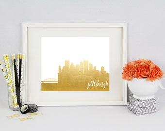 Pittsburgh Pennsylvania // City Silhouettes // Foil Prints // Cityscape Foil Prints // Pittsburgh Foil Prints
