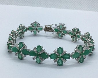 20 Carat Oval Emerald and Round Diamonds 14K White Gold Bracelet - Flower Floral Motif by Luxinelle