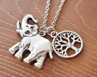 long elephant necklace, lucky elephant, boho jewelry, tree of life jewelry, tree necklace, antique silver necklace, best friend, bridesmaid