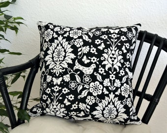 Pillow cover, pillow sleeve black and white patterned, floral birds floral 40x40