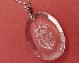 Art Deco Reverse Carved Intaglio Crystal Pendant Necklace