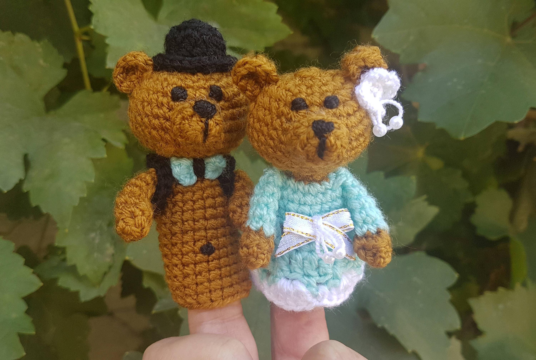 Títeres de dedo boda osos conjunto ganchillo muñecos juguetes