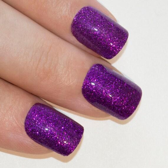 Arte Bling uñas postizas francesa manicura Gel morado brillo medio ...