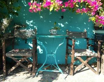 Fine art photography print. Greek taverna, Greece photography, blue photography, Greece print, blue wall decor, Mediterranean decor.