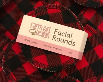 Buffalo Plaid Facial rounds | Makeup Remover | Facial Towel | Flannel Scrubby | Soft Scrubbies | Cotton Rounds | Makeup Wipes | Reusable Fac