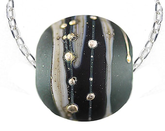Cremation Pendants, Light Steel Gray/Black Round Handmade Lampwork Bead/Pure Silver Dots and Sterling Silver Necklace, Pet Ash Bead