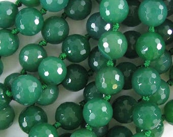 "12mm faceted green onyx round beads 13"" strand 10075"