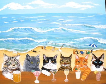 Cat Art, Cats at the Beach Bar print, cat bar, cat print, cat lovers gift, fun cat art, fun cat print, fun cat painting