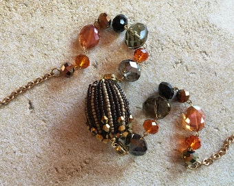 Brown Necklace, Beaded Necklace, Beadwork Necklace, Statement Necklace, Gift For Her