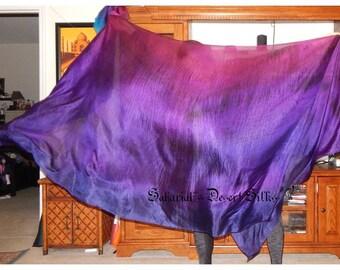 "Sahariah's Silk Belly Dance Veil Rectangle Original ""Killer Silk"" 3 Yard Rectangle Veil Purple Unique Tribal Belly Dance Rectangle Veil"