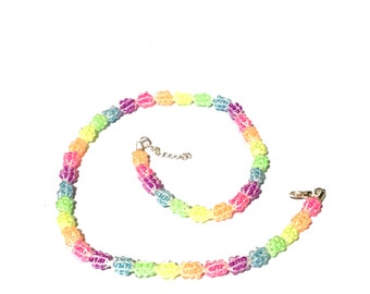 Kumihimo rainbow beaded necklace